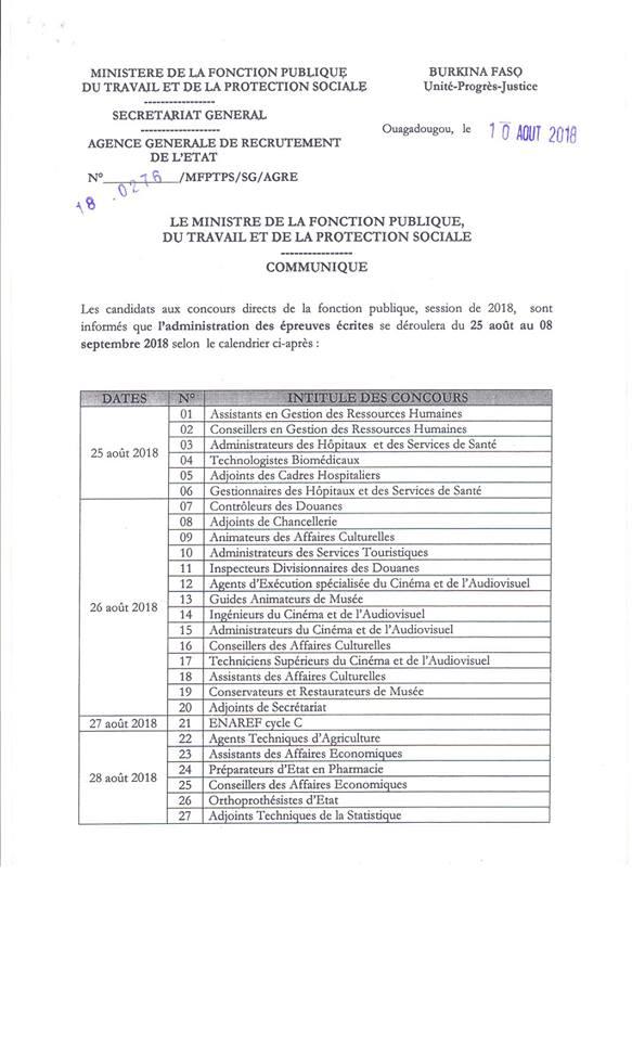 Infowakat Concours Directs Administration Des Epreuves Du 25