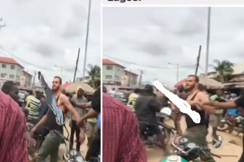 White man Arrested For Allegedly Assaulting A Nursing Mother In Lagos [VIDEO]