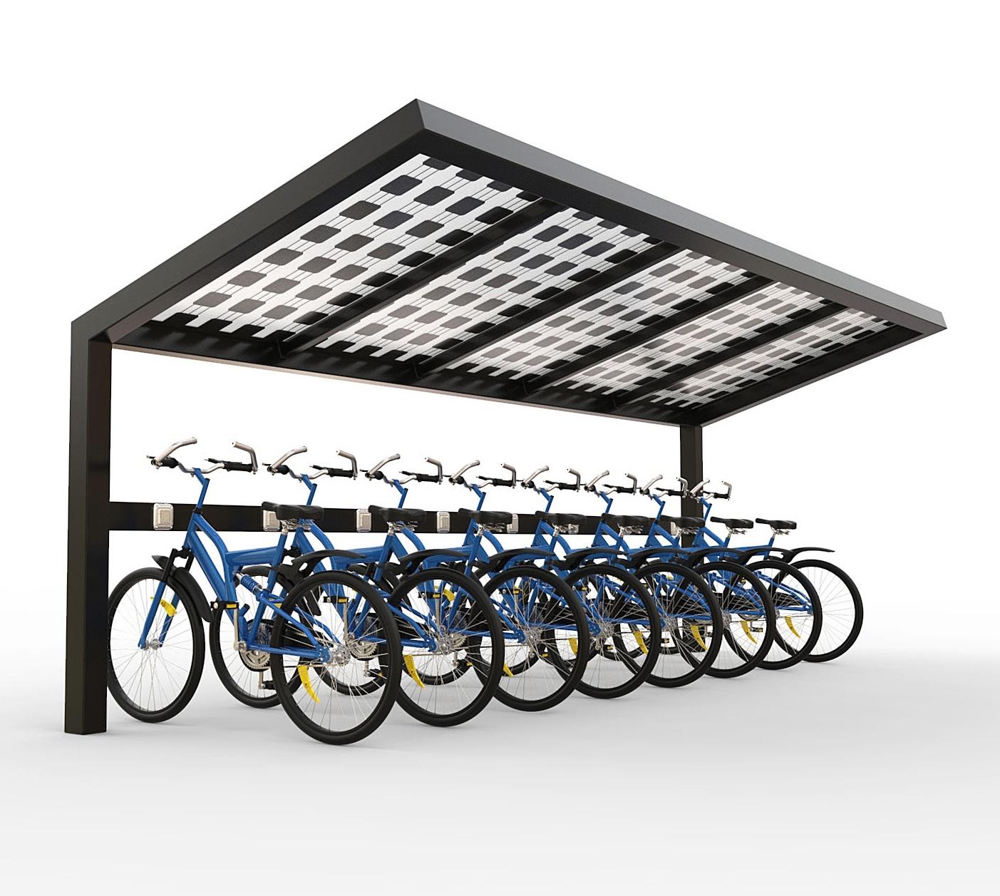 Solar fietsenstalling met zonnepanelen