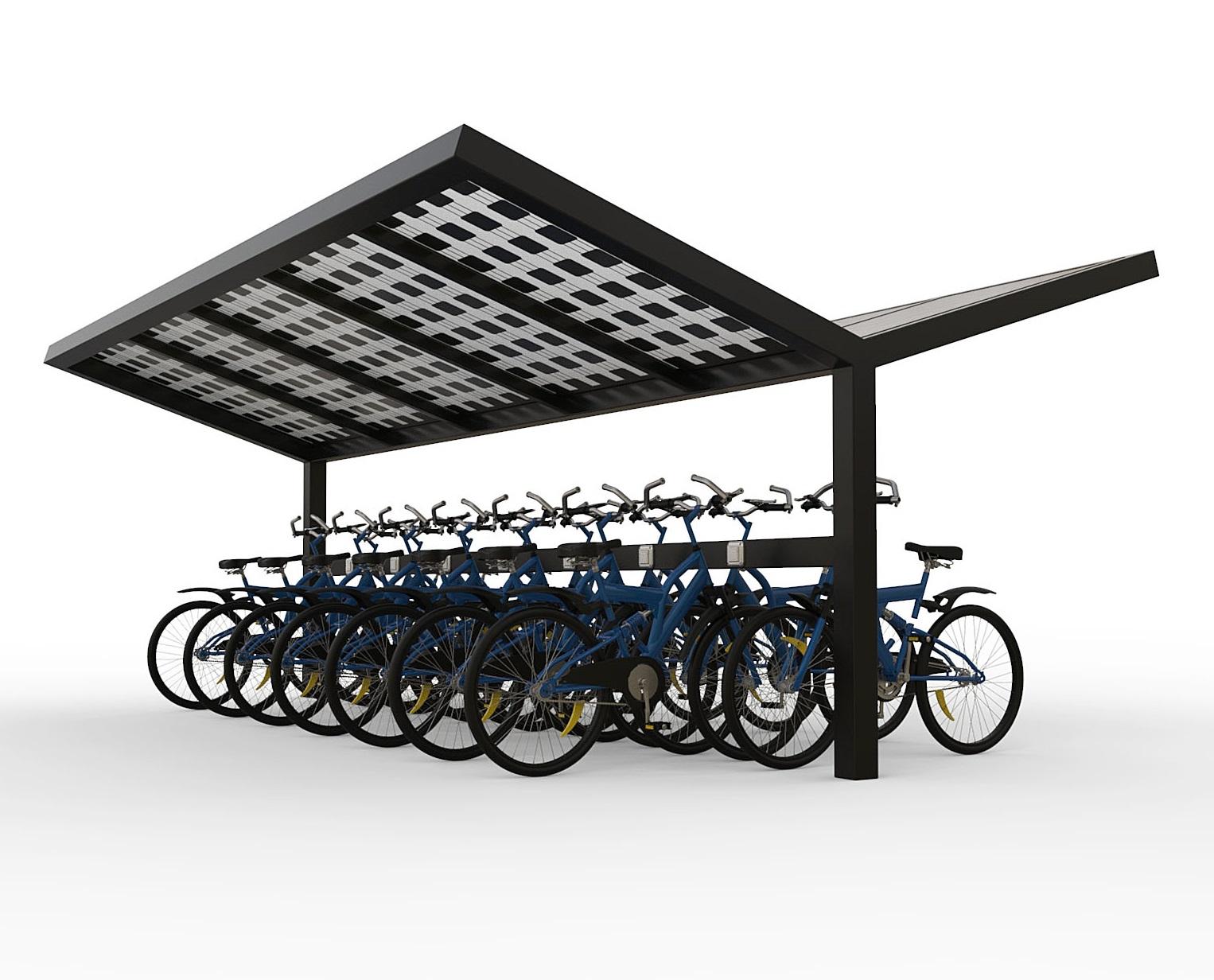 Solar fietsenstalling zonnepanelen dak