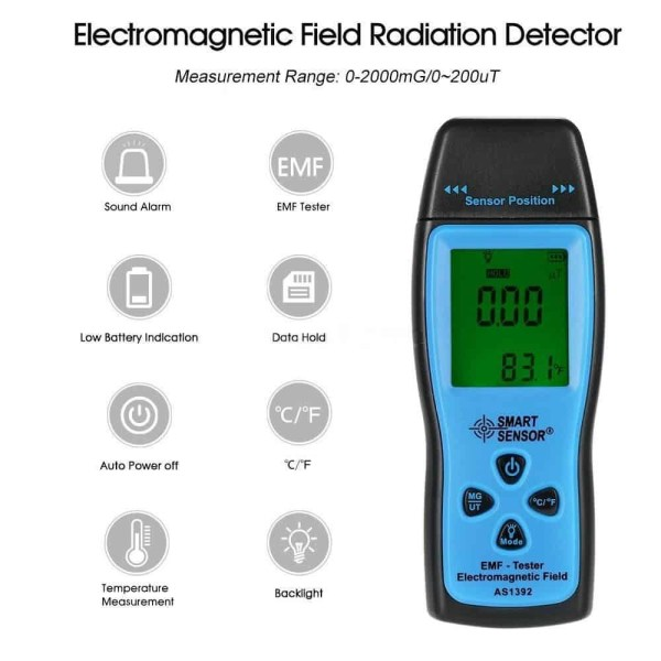 dual colured backlit emf meter ghost hunting temperature