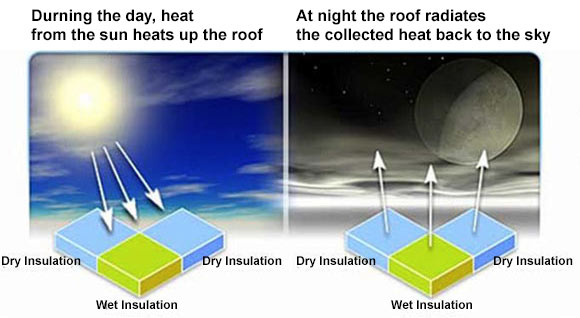 radiant heat from roof is measured to identify high mass, wet areas