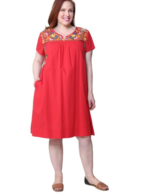 Short Sleeve Embrodiered Dress-Red