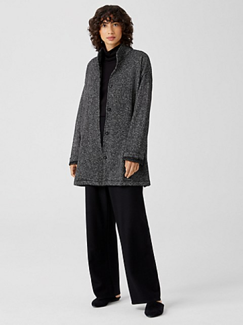 Eileen Fisher Cotton Stand Collar Long Jacket