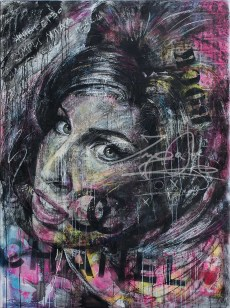 Amy ( Projekt Nobody mit Chris May ), MixedMedia auf Leinwand, 2016., 160x100 cm