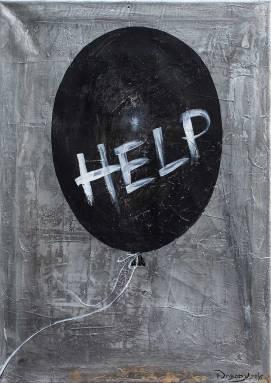 Help, Acryl auf Leinwand, 2016., 70x50 cm, ( Projekt Nobody, Zusammenarbeit mit Chris May )