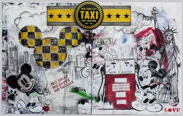 New YorkTaxi, Mixed Media & Objekte auf Leinwand, 2016., 200x80 cm, ( Projekt Nobody, zusammenarbeit mit Chris May )