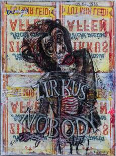 Zirkus Nobody, Mixed Media auf Leinwand, 2016., 70x50 cm, ( Zyklus Nobody, zusammenarbeit mit Chris May )