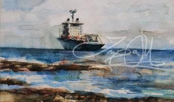 Frachtschif Aquarel 2004