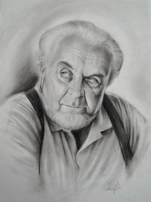 Mein Vater, Kohlezeichnung, 2010., 40x60 cm