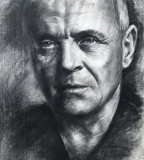 Kohleportrait von Inga Mihailovic - Anthony Hopkins