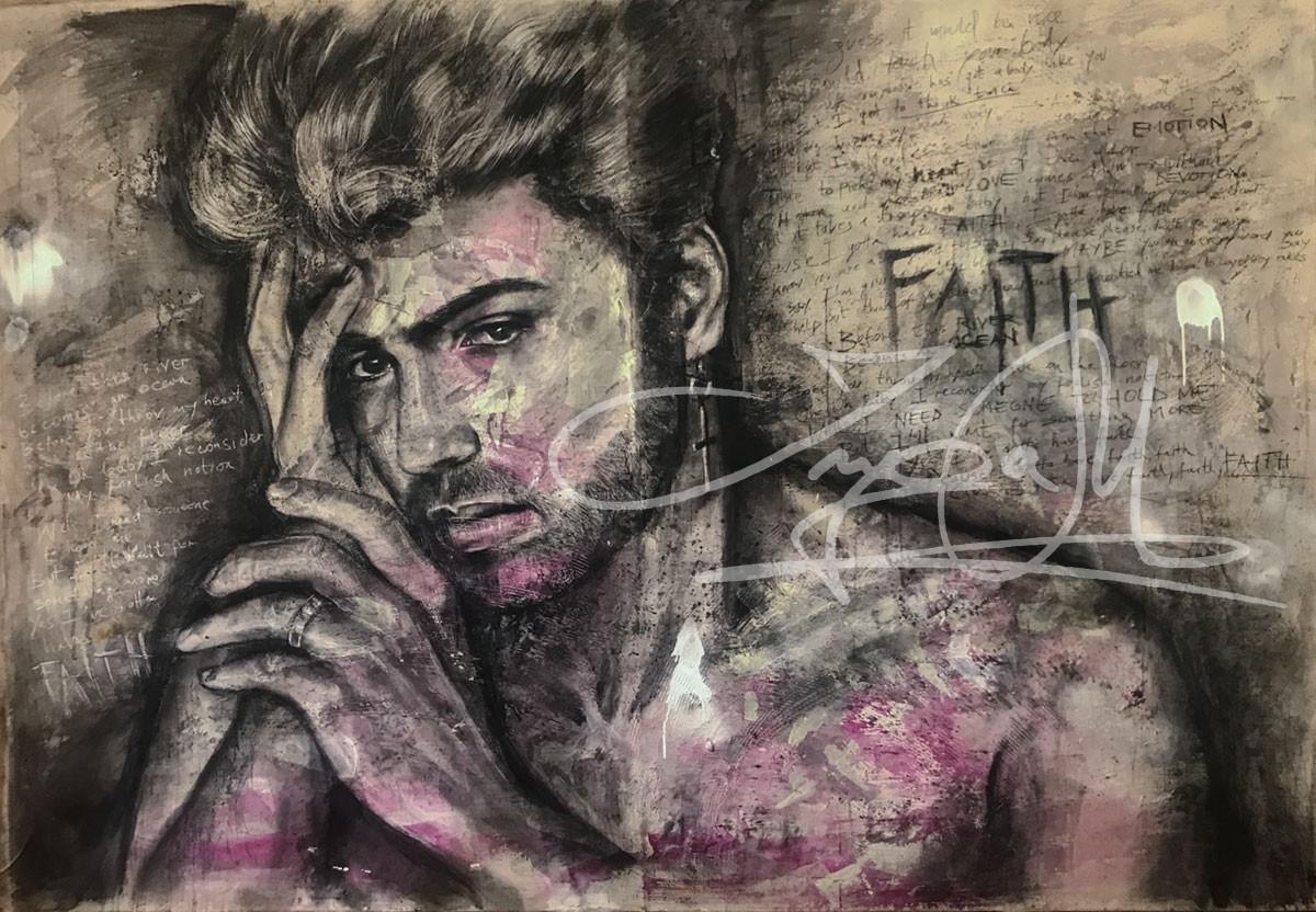 Inga Mihailovic: Georg Michael, Mixed Media, Faith, 150x100, 2017