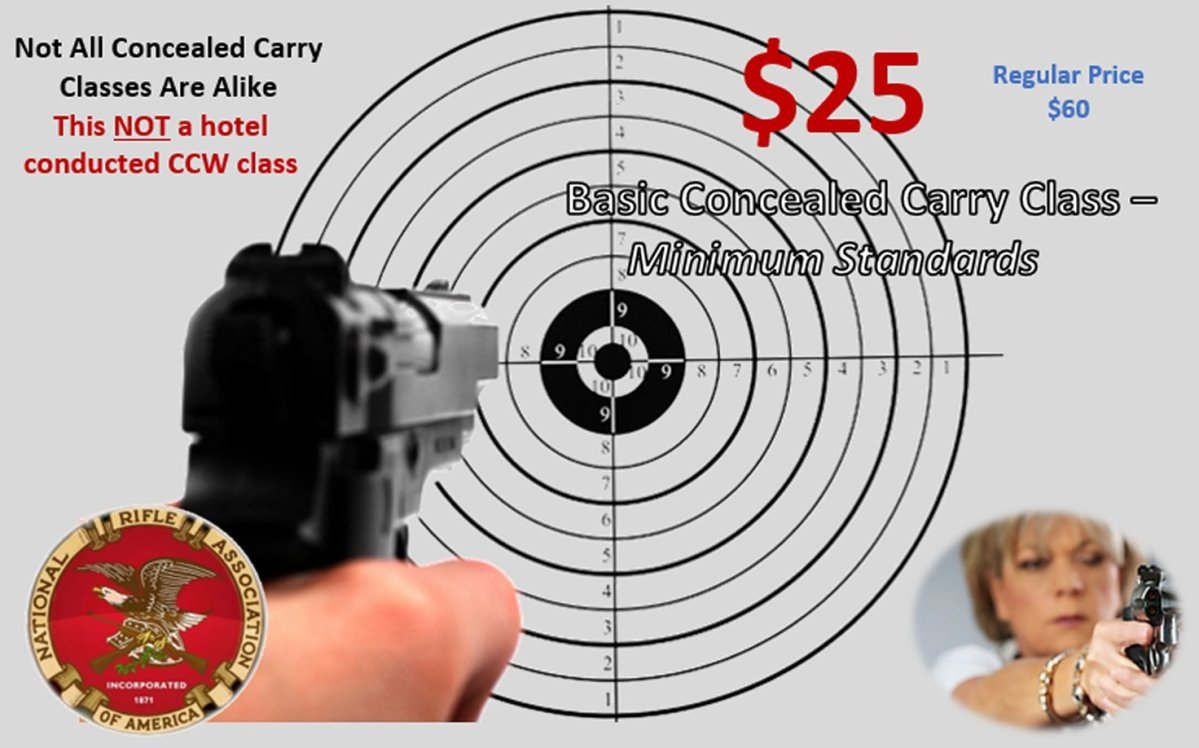 CONCEAL CARRY CLASS :  End of Winter Special – $25