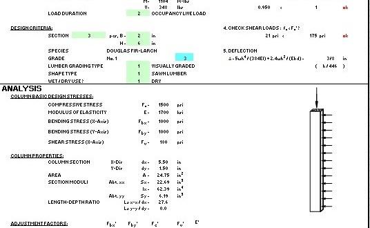 Plantilla Excel – Diseño de Columnas de Madera