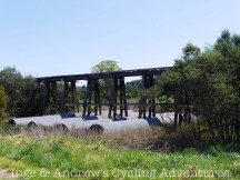 One of the many wooden railway bridges.