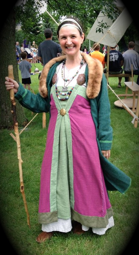 Kari in regalia at the Hjemkomst Viking Center in Moorehead, Minnesota.