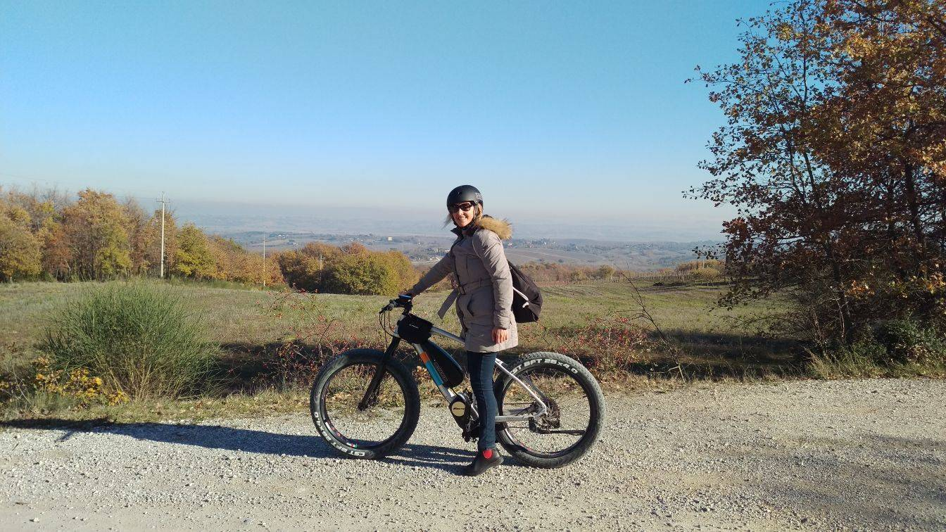 Io in bicicletta a Montepulciano