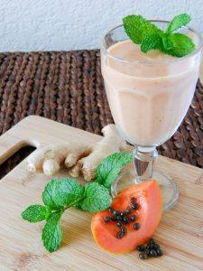 Receita: Papaya Mint Ginger Smoothie