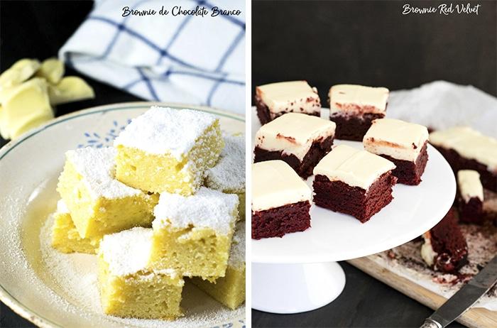 Brownie de Chocolate Branco e Brownie Red Velvet