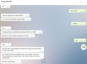 Andy Bot aprender inglês