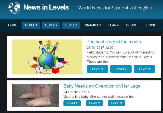 News in levels