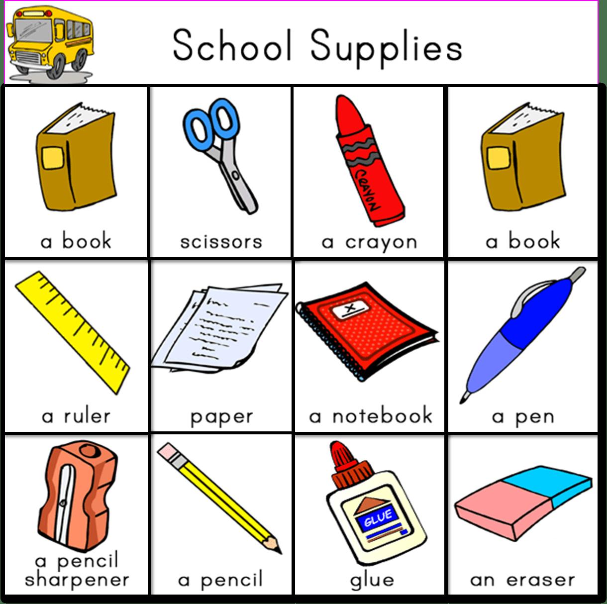 School Supplies Inglesparaminis