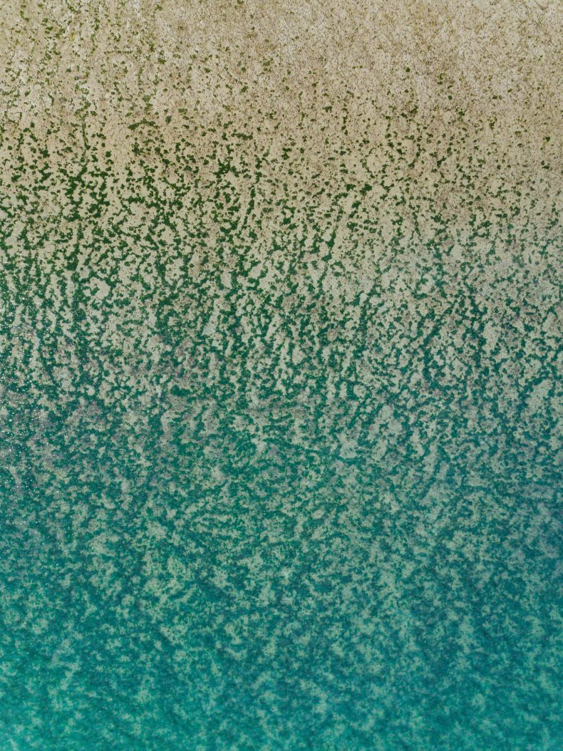 The transition between the ocean and the beach, as seen from the air.