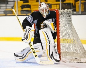 New Bruins backup Chad Johnson works on his post play. Stick discipline and post integration techniques will both be under the microscope with more space behind the net and in the 5-hole. (InGoal photo by Scott Slingsby).