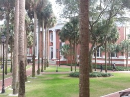 Looking across the quad, the heart of the academic part of Stetson's campus