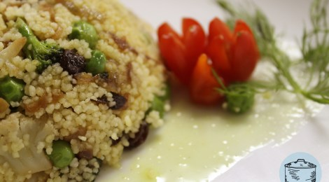 Couscous com vegetais ao vinagre de Curry