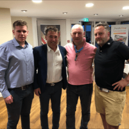This picture shows Tadhg Corkery, the hilarious after-dinner speaker - Dean Saunders, Ian Galletly and Gary Davies.