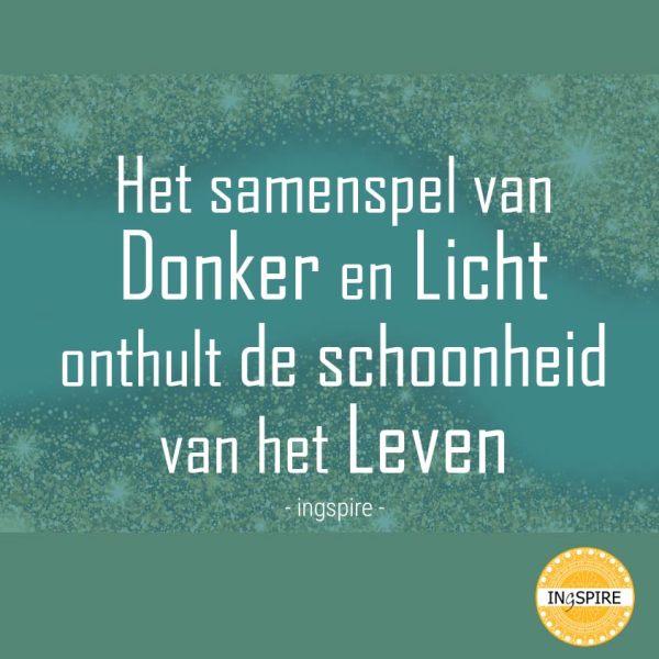 Het samenspel van Donker en Licht onthult de schoonheid van het Leven - citaat door ingspire.nl