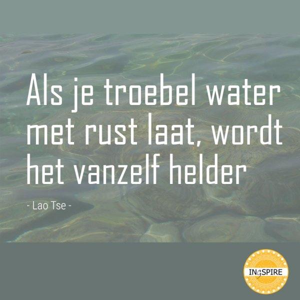 Quote - Als je troebel water met rust laat wordt het vanzelf helder - citaat van Lao Tse op ingspire.nl