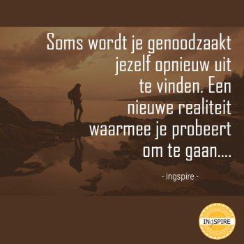 Citaat van inge ingspire.nl over een nieuwe werkelijkheid accepteren: Soms wordt je genoodzaakt jezelf opnieuw uit te vinden. Een nieuwe realiteit waarmee je probeert om te gaan...