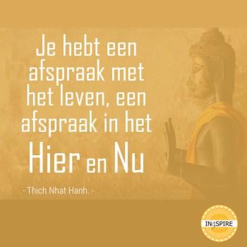 Citaat Thich Nhat Than over Mindfulness en aandacht: Je hebt een afspraak met het leven, een afspraak in het Hier en Nu | ingspire