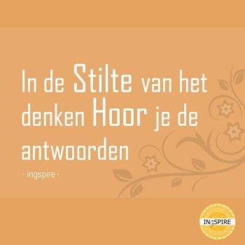 Mooie quote: In de Stilte van het denken Hoor je de antwoorden - Citaat van Ingspire.nl ©