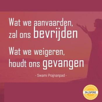 Spreuk van Swami Prajnanpad: Wat we aanvaarden zal ons bevrijden - ingspire