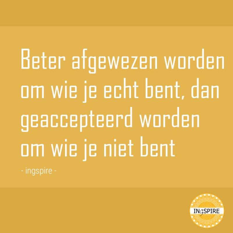 Beter afgewezen worden om wi je echt bent, dan geaccepteerd worden om wie je niet bent - ingspire.nl