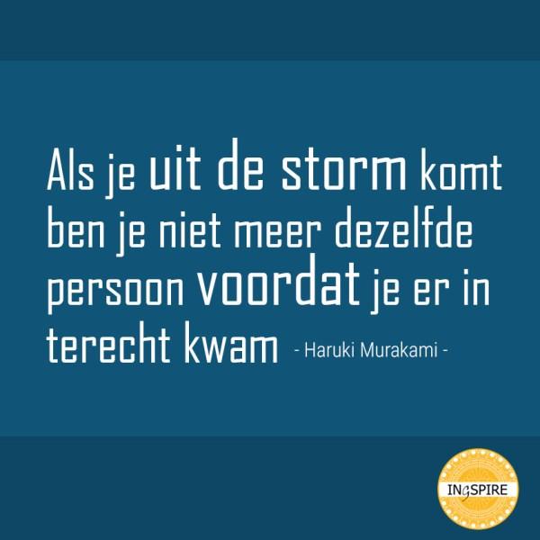 Als je uit de storm komt ben je niet meer dezelfde persoon voordat je er in terecht kwam - Haruki Murakami,