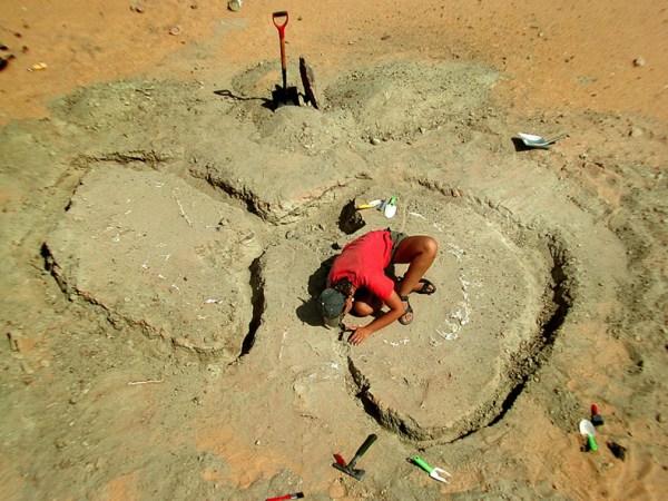 Il team di Paul Sereno al lavoro nel sito di Gadoufaoua nel 1999-2000, per il ritrovamento di un Nigersaurus Taqueti risalente a circa 110 milioni di anni fa.