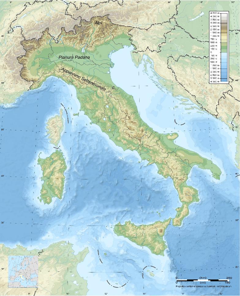mappa geografia fisica Italia