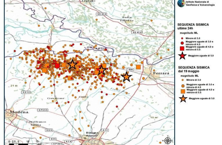 Terremoto in Pianura Padana Emiliana: aggiornamento ore 23 del 27 maggio