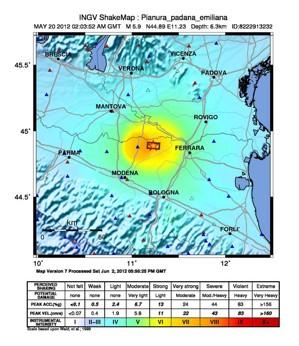 Terremoto in Pianura Padana Emiliana: Mappe di scuotimento (ShakeMap) del terremoto Ml5.9 del 20/05/2012 alle ore 04:03