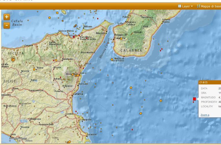Evento sismico nel Mar Ionio, M 4.7, 04 luglio ore 13.12