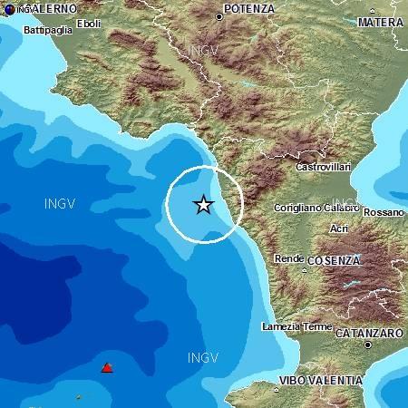 Terremoto sulla costa calabra occidentale, M4.6, 16 ottobre ore 17.10