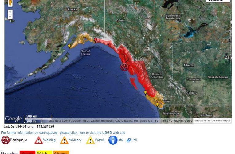 Terremoto M 7.5 Alaska Meridionale (05 gennaio ore 08.58 UTC)