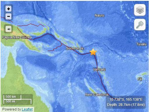 Terremoto a Santa Cruz Islands del 6 febbraio 2013, Mw 8.0
