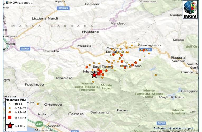 Aggiornamento sequenza sismica in Lunigiana ore 17.00 e relazione di dettaglio sull'evento