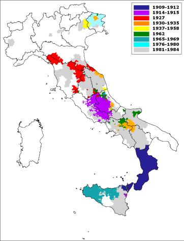 Data di prima classificazione sismica dei comuni italiani, dal 1909 al 1984