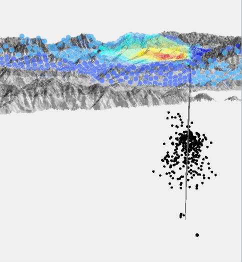 Fig. 5. Visione 3D da Sud-Ovest con la posizione della faglia (di profilo) e la distribuzione degli ipocentri dei terremoti che hanno seguito la scossa principale (aftershocks; punti verdi in Figura 4)